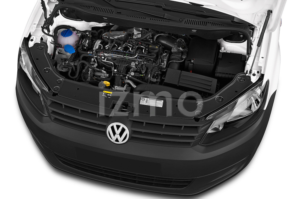 Car Stock 2014 Volkswagen CADDY 1.6 TDI 4 Door Car Van Engine high angle detail view