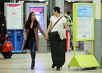 Cage fighter Tom Richards, former fiance of Danniella Westbrook, with Renata Moran at Swansea Railway Station, south Wales, UK. Friday 04 March 2016