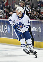 HERSHEY, PA - MARCH 15: Toronto Marlies defenseman Rasmus Sandin (8) stickhandles the puck during the Toronto Marlies vs. the Hershey Bears AHL hockey game March 15, 2019 at the Giant Center in Hershey, PA. (Photo by Randy Litzinger/Icon Sportswire)