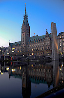 Hamburg townhall reflected in the water. Hamburg, Germany