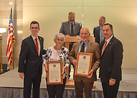 Photo Submitted Representative Deaton (left) and Lieutenant Governor Kehoe (right) presenting the Bearbowers with the awards in the first floor rotunda of the Capitol.