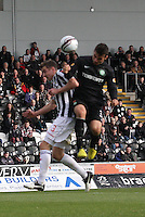 Anthony Watt heads the last goal under pressure from Paul Dummett in the St Mirren v Celtic Clydesdale Bank Scottish Premier League match played at St Mirren Park, Paisley on 20.10.12.