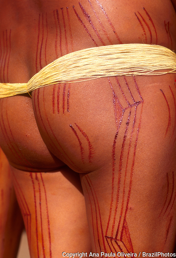 Mehinako Indigenous People, Xingu, Amazon rain forest, Brazil. Body-painting, native woman.