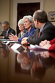 United States Secretary of Health and Human Services (HHS) Kathleen Sebelius, second from right, meets with insurance company executives and officials including Ronald A. Williams, president and chief executive officer of Aetna, Sandy Praeger, Kansas Insurance Department commissioner, and Joel Ario, Pennsylvania insurance commissioner, from left, at the White House in Washington, D.C., U.S., on Thursday, March 4, 2010. .Credit: Brendan Hoffman / Pool via CNP