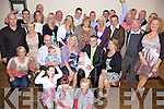 Celebrations - Lorraine McEvoy and Gearo?id Lynch from Marian Park, seated centre having a wonderful time with family and friends at the Christening celebrations for their son Ciara?n in The Kerins O'Rahilly's GAA club on Saturday following the ceremony in St. John's Church.