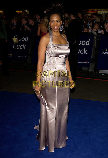 TRISHA GODDARD.10th Anniversary National Television Awards. Royal Albert Hall, London, October 26th 2004..full length satin halterneck dress.Ref: PL.www.capitalpictures.com.sales@capitalpictures.com.©Capital Pictures.