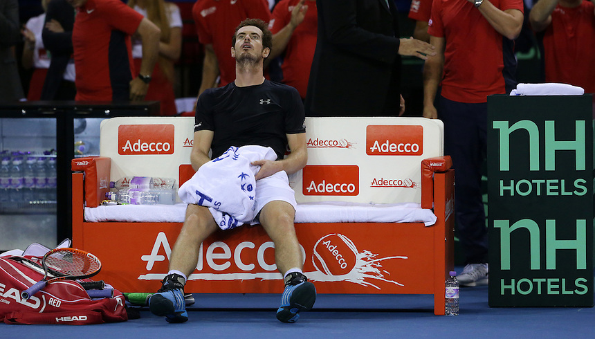 Great Britain&rsquo;s Andy Murray takes a moment to reflect on his victory over Australia&rsquo;s Bernard Tomic - Andy Murray def Bernard Tomic 7-5, 6-3, 6-2<br /> <br /> Photographer Stephen White/CameraSport<br /> <br /> International Tennis - 2015 Davis Cup by BNP Paribas - World Group Semi-Final - Great Britain v Australia - Day 3 - Sunday 20th September 2015 - The Emirates Arena - Glasgow<br /> <br /> &copy; CameraSport - 43 Linden Ave. Countesthorpe. Leicester. England. LE8 5PG - Tel: +44 (0) 116 277 4147 - admin@camerasport.com - www.camerasport.com.