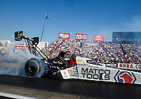 Nov 13, 2016; Pomona, CA, USA; NHRA top fuel driver Antron Brown during the Auto Club Finals at Auto Club Raceway at Pomona. Mandatory Credit: Mark J. Rebilas-USA TODAY Sports
