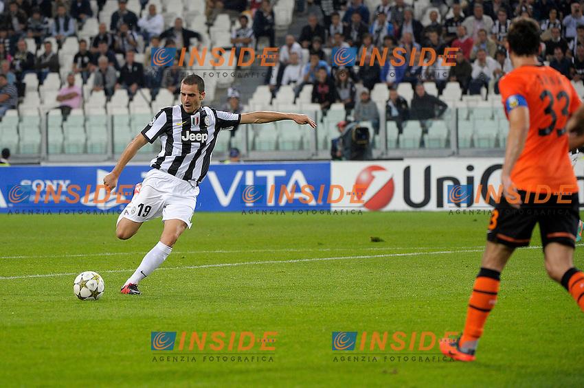 Leonardo Bonuci gol Juventus.Torino 02/10/2012 Juventus Stadium.Football Calcio Champions League 2012/2013.Juventus vs Shakhtar Donetsk.Foto Federico Tardito Insidefoto.