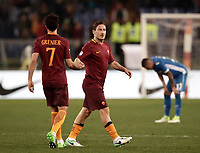 Calcio, Serie A: Roma, stadio Olimpico, 1 aprile, 2017.<br /> Roma's Francesco Totti (r) greets Clément Grenier (l) at the end of the Italian Serie A football match between Roma and Empoli at Olimpico stadium, April 1, 2017<br /> UPDATE IMAGES PRESS/Isabella Bonotto