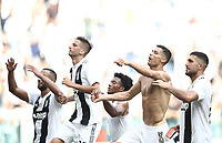 Calcio, Serie A: Juventus - Sassuolo, Turin, Allianz Stadium, September 16, 2018.<br /> Juventus' players celebrate after winning 2-1 the Italian Serie A football match between Juventus and  Sassuolo at Torino's Allianz stadium, September 16, 2018.<br /> UPDATE IMAGES PRESS/Isabella Bonotto