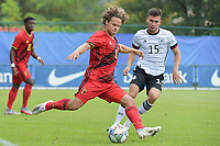 Belgian Loic Masscho (5) and German Mehmet Can Aydin (15)   pictured during a friendly soccer game between the national teams Under19 Youth teams of Belgium and Germany on tuesday 8 th of September 2020  in Genk , Belgium . PHOTO SPORTPIX.BE | SPP | DIRK VUYLSTEKE