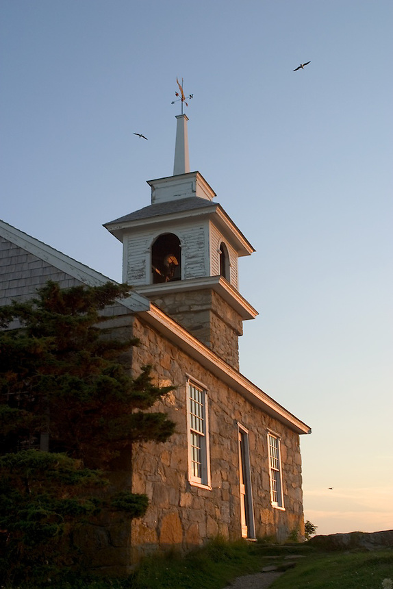 1800 stone Gosport Church is the center of religious activities at the Star Island Conference Center, Isles of Shoals, New Hampshire..Photograph by Peter E. Randall
