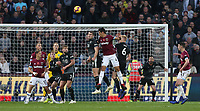 Burnley's Sam Vokes clears from West Ham United's Fabian Balbuena<br /> <br /> Photographer Rob Newell/CameraSport<br /> <br /> The Premier League - West Ham United v Burnley - Saturday 3rd November 2018 - London Stadium - London<br /> <br /> World Copyright &copy; 2018 CameraSport. All rights reserved. 43 Linden Ave. Countesthorpe. Leicester. England. LE8 5PG - Tel: +44 (0) 116 277 4147 - admin@camerasport.com - www.camerasport.com