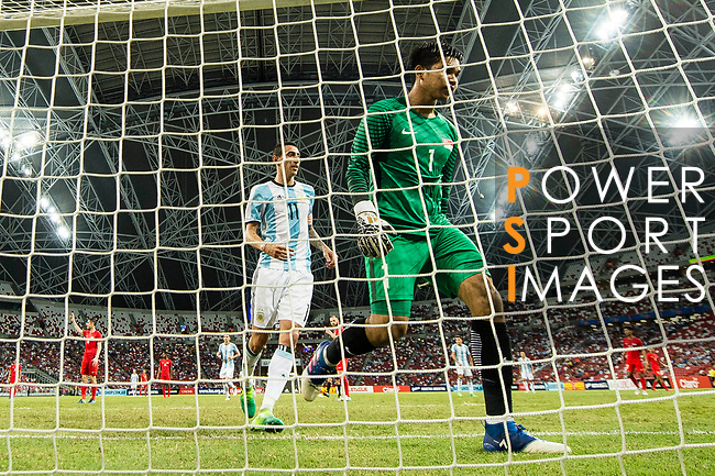 Angel Di Maria of Argentina (L) celebrating his score during the International Test match between Argentina and Singapore at National Stadium on June 13, 2017 in Singapore. Photo by Marcio Rodrigo Machado / Power Sport Images