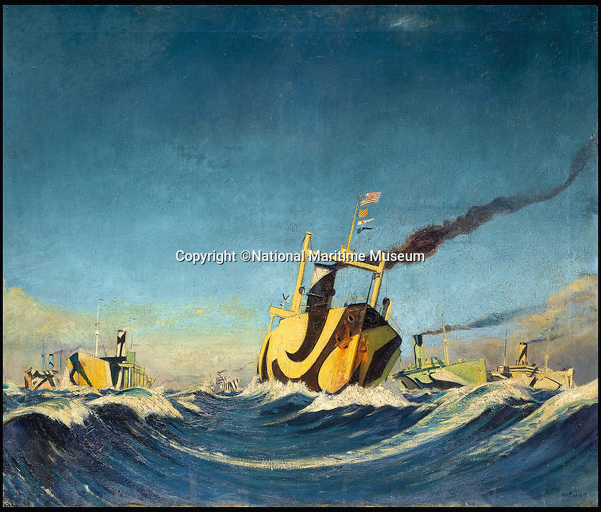BNPS.co.uk (01202 558833)<br /> Pic: NationalMaritimeMuseum/BNPS<br /> <br /> ***Only To Be Used In Connection with Book***<br /> <br /> A convoy of merchant ships painted with dazzle colours during World War I, shown from a low viewpoint.<br /> <br /> Poignant 'forgotten' works of art revealing the plight of those who fought at sea in the two world wars have come to light in the first ever book dedicated to the subject.<br /> <br /> Art and the War at Sea features dozens of unseen, 'lost' or little-known paintings and sketches showing the reality of life onboard naval and merchant ships in wartime.<br /> <br /> While countless books have been written about paintings created on Europe's Western Front during conflict, this is the first ever to focus on maritime and naval art from WWI and WWII.<br /> <br /> Art and the War at Sea: 1914-1945 is published by Lund Humphries and costs &pound;40.