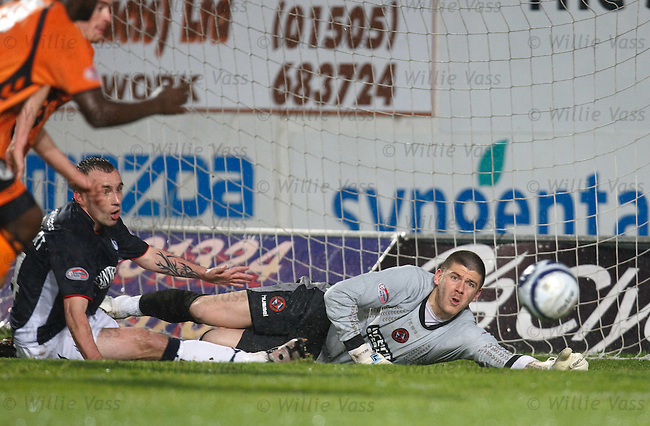 Lukasz Zaluska saves from Mark Stewart