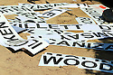 Scattered scoreboard player names during the final round of the DP World Golf Championship played at the Earth Course, Jumeira Golf Estates, Dubai 19-22 November 2015. (Picture Credit / Phil Inglis )