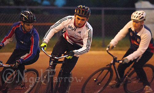26 MAY 2015 - IPSWICH, GBR - Ashley Hill (centre) leads Ben Harvey (left) and Fraser Harris (right) during an Ipswich Cycle Speedway Club championship night at Whitton Sports and Community Centre in Ipswich, Suffolk, Great Britain (PHOTO COPYRIGHT © 2015 NIGEL FARROW, ALL RIGHTS RESERVED)