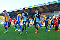 Wycombe Wanderers Sido Jombati, Jason McCarthy, Marcus Bean and Sam Wood enter the stadium prior to the Sky Bet League 2 match between Mansfield Town and Wycombe Wanderers at the One Call Stadium, Mansfield, England on 31 October 2015. Photo by Garry Griffiths.