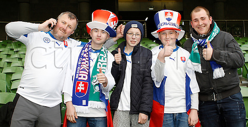 29.03.2016. Aviva Stadium, Dublin, Ireland.  International Football Friendly Ireland versus Slovakia. Slovakia supporters pictured before kick-off.