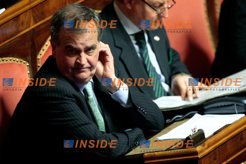 Roberto Calderoli.Roma 29/02/2012 Camera dei Deputati. Discussione sul DDL Liberalizzazioni. .Photo Samantha Zucchi Insidefoto