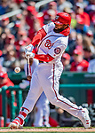 5 April 2018: Washington Nationals outfielder Brian Goodwin singles to lead off the bottom of the 6th inning against the New York Mets at Nationals Park in Washington, DC. The Mets defeated the Nationals 8-2 in the first game of their 3-game series. Mandatory Credit: Ed Wolfstein Photo *** RAW (NEF) Image File Available ***