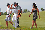 June 14th 2017, Erin, Wisconsin, USA; PGA golfer Rickie Fowler walks to the 9th tee with his girlfriend during the 117th US Open - Practice Round at Erin Hills in Erin, Wisconsin