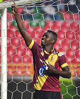 IBAGUE- COLOMBIA, 03-04-2019: Marco Pérez of Deportes Tolima (COL) celebra el segundo gol anotado a Jorge Wilstermann (BOL), durante partido de la fase de grupos, grupo G, fecha 3, entre Deportes Tolima (COL) y Jorge Wilstermann (BOL), por la Copa Conmebol Libertadores 2019, en el Estadio Manuel Murillo Toro de la ciudad de Ibague. / Marco Pérez of Deportes Tolima (COL) celebrates the second scored goal to Wilstermannn (BOL), during a match of the groups phase, group G, 3rd date, beween Deportes Tolima (COL) and Jorge Wilstermann (BOL), for the Conmebol Libertadores Cup 2019, at the Manuel Murillo Toro Stadium, in Ibague city.  Photo: VizzorImage / Juan Carlos Escobar / Cont.