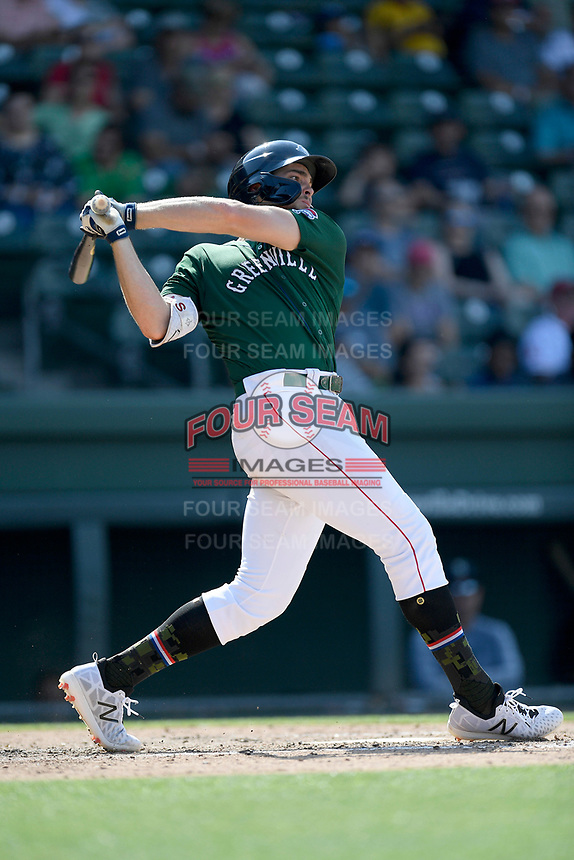 First baseman Triston Casas (38) of the Greenville Drive bats in a game against the West Virginia Power on Sunday, May 19, 2019, at Fluor Field at the West End in Greenville, South Carolina. Greenville won, 8-4. (Tom Priddy/Four Seam Images)