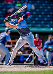 18 July 2018: Trenton Thunder infielder Mandy Alvarez leads off the second inning against the New Hampshire Fisher Cats at Northeast Delta Dental Stadium in Manchester, NH. The Fisher Cats defeated the Thunder 3-2 in a 7-inning, second game of the day. Mandatory Credit: Ed Wolfstein Photo *** RAW (NEF) Image File Available ***