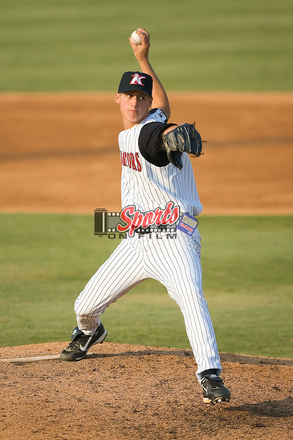 Relief pitcher Nathan Jones (38) of the Kannapolis Intimidators in action at Fieldcrest Cannon Stadium in Kannapolis, NC, Sunday August 10, 2008. (Photo by Brian Westerholt / Four Seam Images)