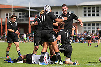 Cam Church celebrates his try during the rugby union match between New Zealand Schools and Fiji Schools at Hamilton Boys' High School in Hamilton, New Zealand on Monday, 30 September 2019. Photo: Simon Watts / lintottphoto.co.nz