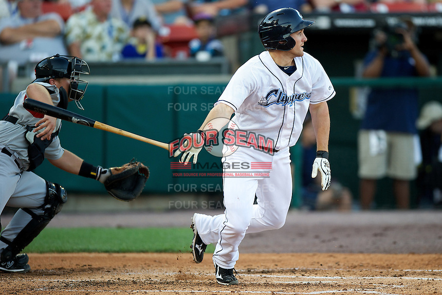 Columbus Clippers second baseman Cord Phelps #12 during the Triple-A All-Star game featuring the Pacific Coast League and International League top players at Coca-Cola Field on July 11, 2012 in Buffalo, New York.  PCL defeated the IL 3-0.  (Mike Janes/Four Seam Images)