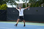 Borna Gojo of the Wake Forest Demon Deacons celebrates after winning his match at #1 singles against the Texas A&M Aggies during the semifinals at the 2018 NCAA Men's Tennis Championship at the Wake Forest Tennis Center on May 21, 2018 in Winston-Salem, North Carolina. The Demon Deacons defeated the Aggies 4-3. (Brian Westerholt/Sports On Film)