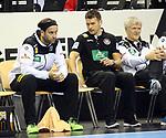 12.01.2019, Mercedes Benz Arena, Berlin, GER, Germany vs. Brazil, im Bild Silvio Heinevetter (GER #12), Cheftrainer (Head Coach) Christian Prokop (GER)<br /> <br />      <br /> Foto &copy; nordphoto / Engler