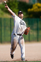 24 May 2009: Vincent Ferreira of Savigny throws the ball to first base during the 2009 challenge de France, a tournament with the best French baseball teams - all eight elite league clubs - to determine a spot in the European Cup next year, at Montpellier, France. Rouen wins 7-5 over Savigny.