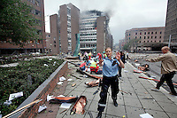 (July22,2010) A man is treated for injuries received after a large vehicle bomb was detonated near the offices of Norwegian Prime Minister Jens Stoltenberg on 22 July 2011. Although Stoltenberg was reportedly unharmed the blast resulted in several injuries and deaths. <br /> Another terrorist attack took place shortly afterwards, where a man killed over 80 children and youths attending a political camp at Ut&oslash;ya island. <br /> Anders Behring Breivik was arrested on the island and has admitted to carrying out both attacks.<br /> (photo:Fredrik Naumann/Felix Features)