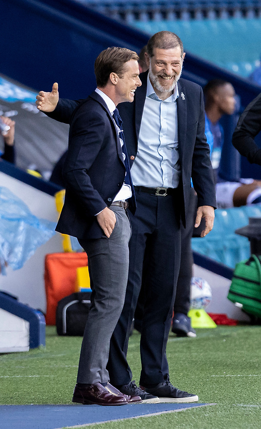 West Bromwich Albion's manager Slaven Bilic (right) greets Fulham's manager Scott Parker <br /> <br /> Photographer Andrew Kearns/CameraSport<br /> <br /> The EFL Sky Bet Championship - West Bromwich Albion v Fulham - Tuesday July 14th 2020 - The Hawthorns - West Bromwich <br /> <br /> World Copyright © 2020 CameraSport. All rights reserved. 43 Linden Ave. Countesthorpe. Leicester. England. LE8 5PG - Tel: +44 (0) 116 277 4147 - admin@camerasport.com - www.camerasport.com