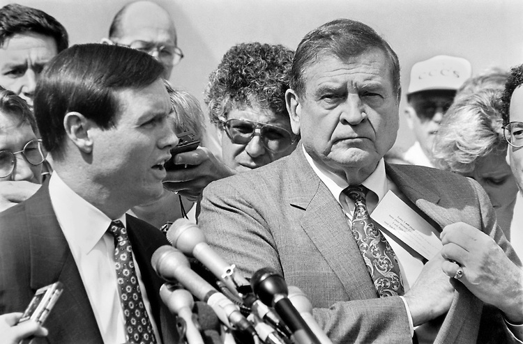 "Rep. Daniel David ""Dan"" Rostenkowski, D-Ill., Chairman of the Ways and Means Committee, and Dan K. Webb, attorney, on arraignment day.  Here they hold a US, District court press conference. 1994 (Photo by Laura Patterson/CQ Roll Call)"