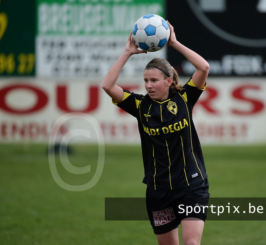 20140315 - WESTERLO , BELGIUM : Lierse Chloe Van Mingeroet pictured during the soccer match between the women teams of SK Lierse Dames  and SC Heerenveen Vrouwen , on the 19th matchday of the BeNeleague competition Saturday 15 March 2014 in Westerlo . PHOTO DAVID CATRY
