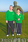 CAPTAINS DRIVE: Michael O'Connolly (captain) and Monica O'Neill (lady captain) of Tralee Golf Club at the captains drive at the Barrow course on Sunday.