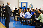 Norman Augustine, Retired Chairman and CEO, Lockheed Martin Corporation, speaks to students and tours the Energy Institute High School  in Houston Thursday, April 30, 2015 the and event  at Rice University's Baker Institute. (Photo by Michael Stravato)