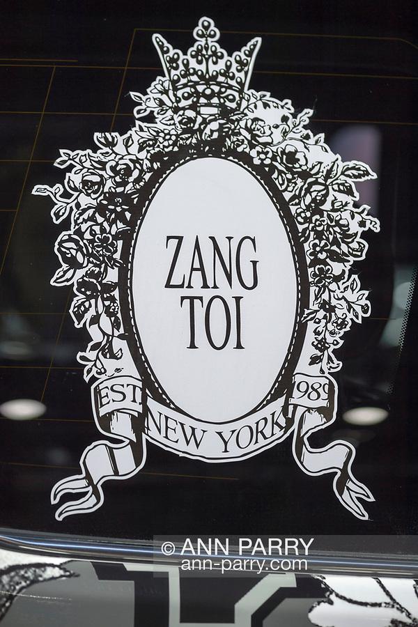 Manhattan, New York, USA. April 12, 2017. Zang Toi logo of Malaysian born international couture fashion designer is on NYFW Lexus SUV on display at the New York International Auto Show, NYIAS, at the Javits Center.
