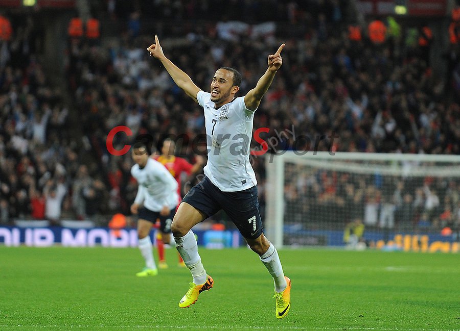 England's Andros Townsend celebrates scoring his sides third goal <br /> <br /> Photo by Ian Cook/CameraSport<br /> <br /> International Football 2014 World Cup Euro Qualifying Group H- England v Montenegro - Friday 11th October 2013 - Wembley Stadium - London<br /> <br /> &copy; CameraSport - 43 Linden Ave. Countesthorpe. Leicester. England. LE8 5PG - Tel: +44 (0) 116 277 4147 - admin@camerasport.com - www.camerasport.com
