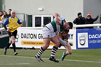 David Williams of Nottingham Rugby brings down Matt Cornish of Ealing Trailfinders during the Championship Cup Quarter Final match between Ealing Trailfinders and Nottingham Rugby at Castle Bar , West Ealing , England  on 2 February 2019. Photo by Carlton Myrie / PRiME Media Images.