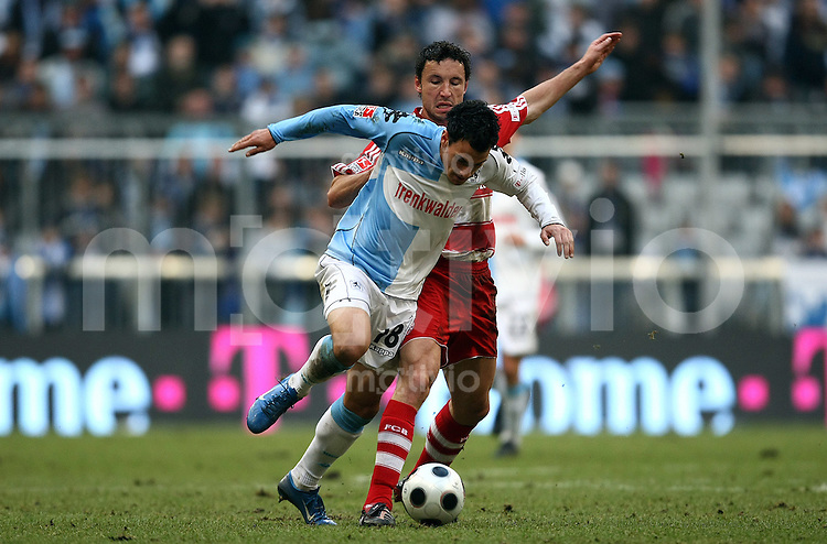 FUSSBALL     1. BUNDESLIGA     2. BUNDESLIGA       LOKALDREBY FC Bayern Muenchen - TSV 1860 Muenchen          26.01.2008 Timo GEBHART (li, 1860 Muenchen) im Zweikampf mit Marc VAN BOMMEL (re, Bayern Muenchen).