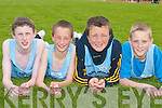 St Brendans Luke Evans, Conor Slattery, Kieran Fitzgerald and Mark Dineen relaxing at the County Athletic Championships in Castleisland last Saturday..