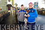 Jack and Mairead Evans and Sparky the dog at the James Ashe Memorial Tractor Run in Boolteens on Sunday.