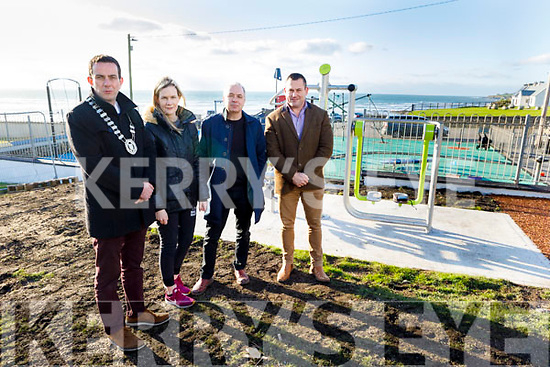 Jimmy Moloney (Cathaoirleach Listowel Municipal District), Marion Godley, Mick Harkin and Andy Smith showing the new extension to the playground in Ballyheigue.